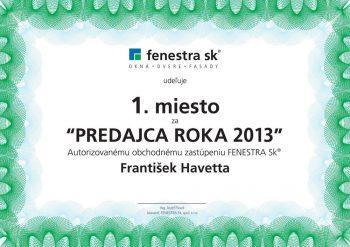 Ocenenie : predajca roku 2013