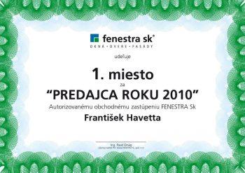 Ocenenie : predajca roku 2010