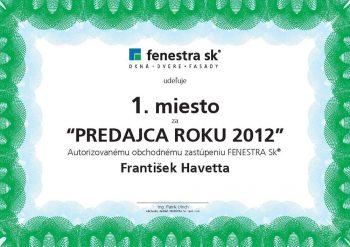 Ocenenie : predajca roku 2012
